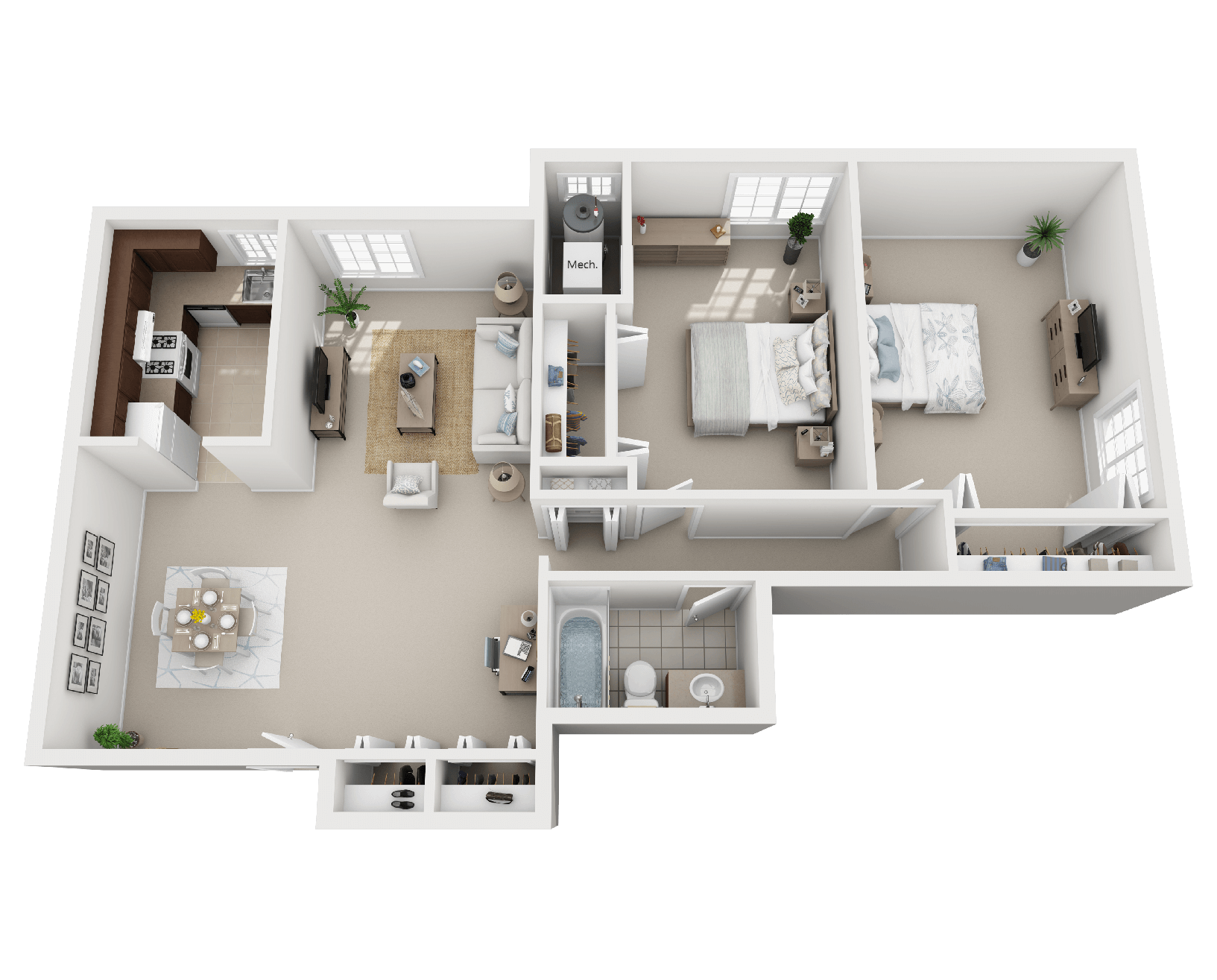 Lake Shore Park Apartments - 2 Bedroom, 1 Bath (Layout B)